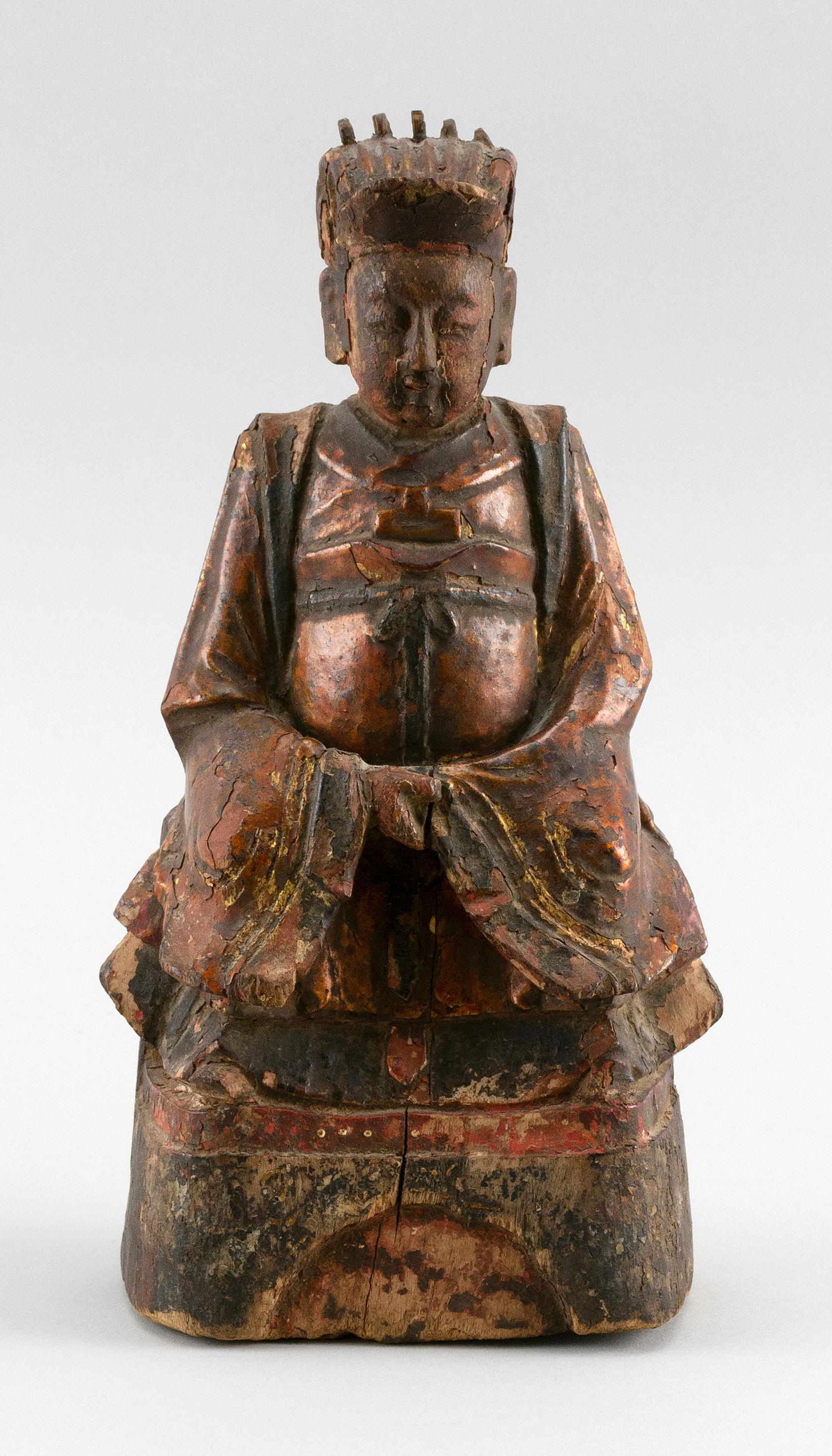 """CHINESE GILTWOOD FIGURE OF A PRIEST Seated on a throne. Traces of original gilding. Height 9""""."""