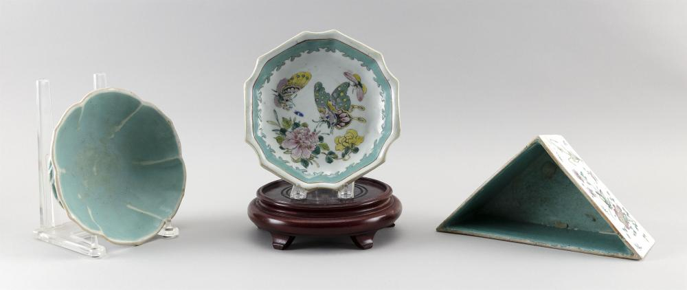 THREE PIECES OF CHINESE FAMILLE ROSE PORCELAIN 1) Triangular planter with flower and insect decoration. Height 3.25