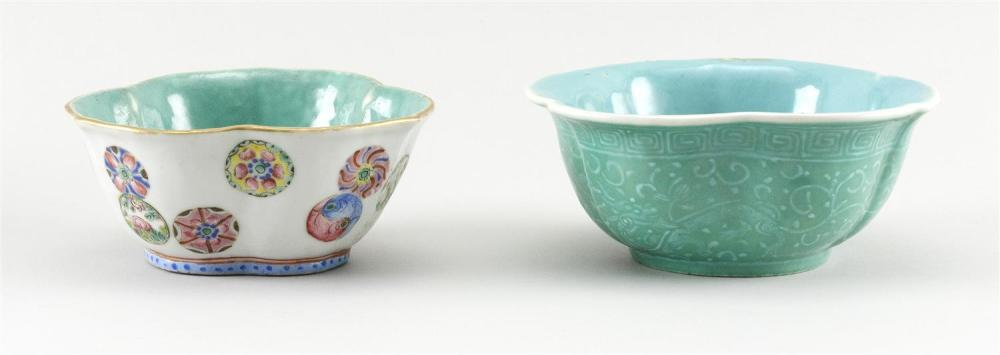 TWO CHINESE PORCELAIN FLORIFORM BOWLS 1) Exterior decoration of famille rose floral mons on a white field. Turquoise glazed interior...