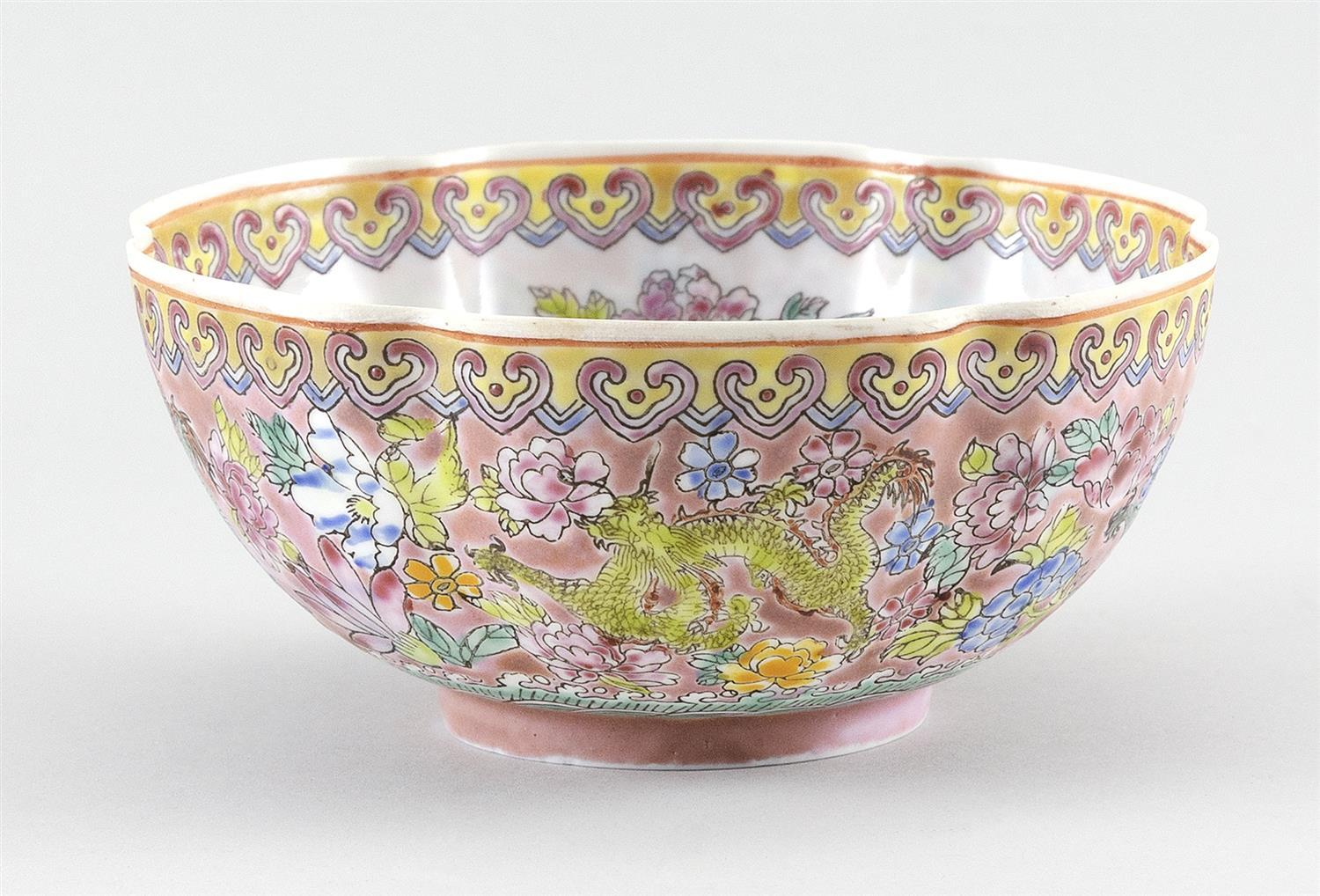 CHINESE FAMILLE ROSE EGGSHELL PORCELAIN FLORIFORM DISH Exterior decoration of green five-clawed dragons and flowers on a pink ground...
