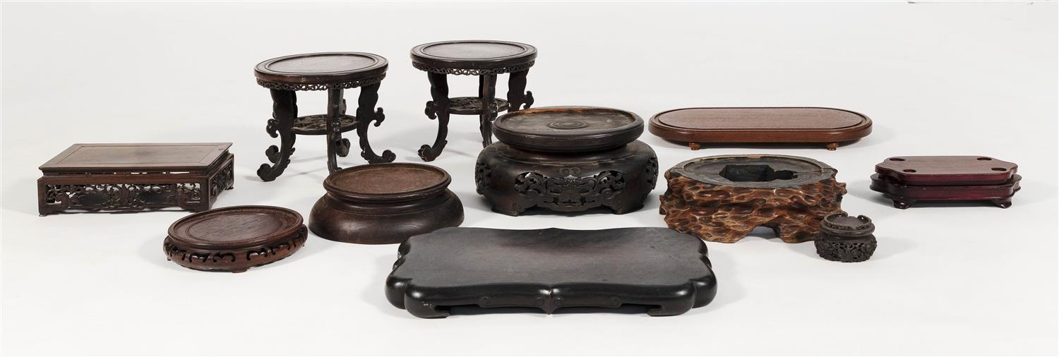 """TEN ASSORTED CHINESE HARDWOOD STANDS Lengths approx. 11""""."""