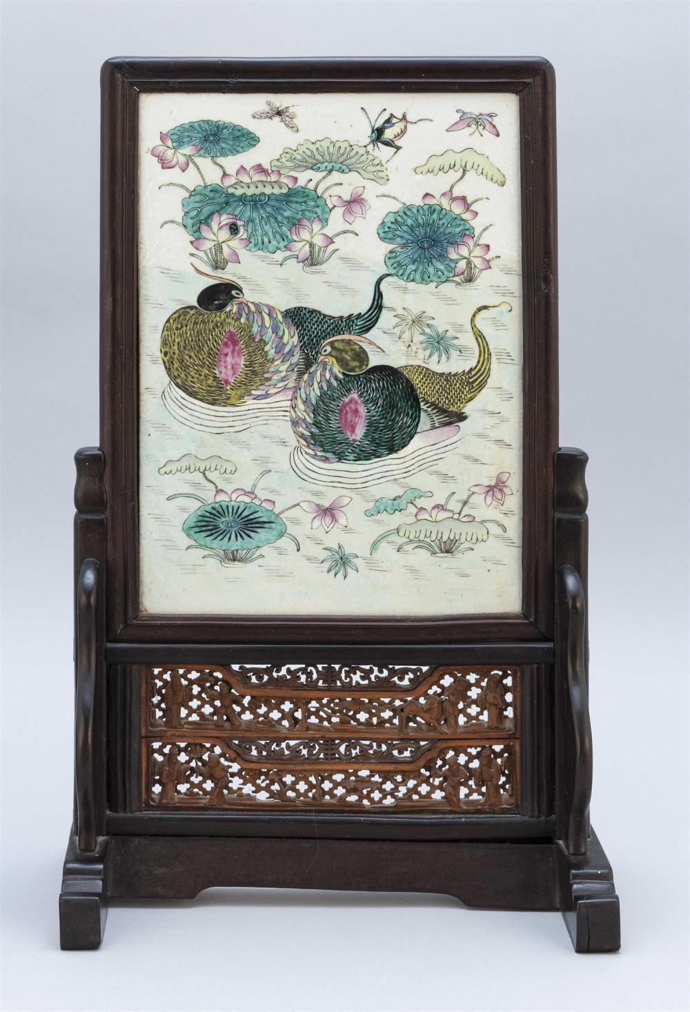 """CHINESE FAMILLE VERTE PORCELAIN TILE PAINTING Depicts two waterfowl swimming amongst water lilies. 13"""" x 9.5"""" sight. Housed in a car..."""