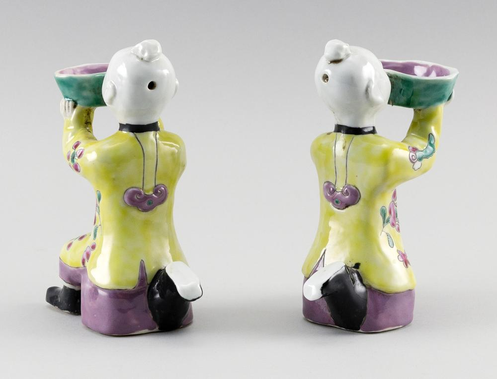 PAIR OF CHINESE FAMILLE ROSE PORCELAIN KNEELING BOY FIGURES Heights 6