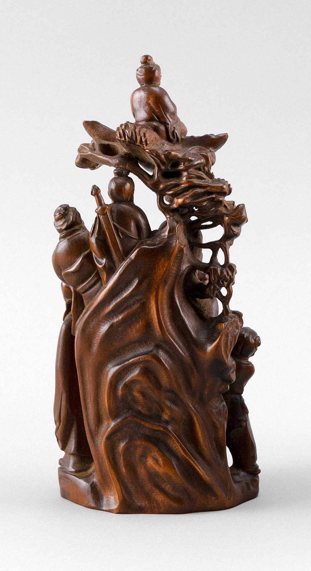 CHINESE ROOTWOOD SCULPTURE OF THE EIGHT IMMORTALS Height 8