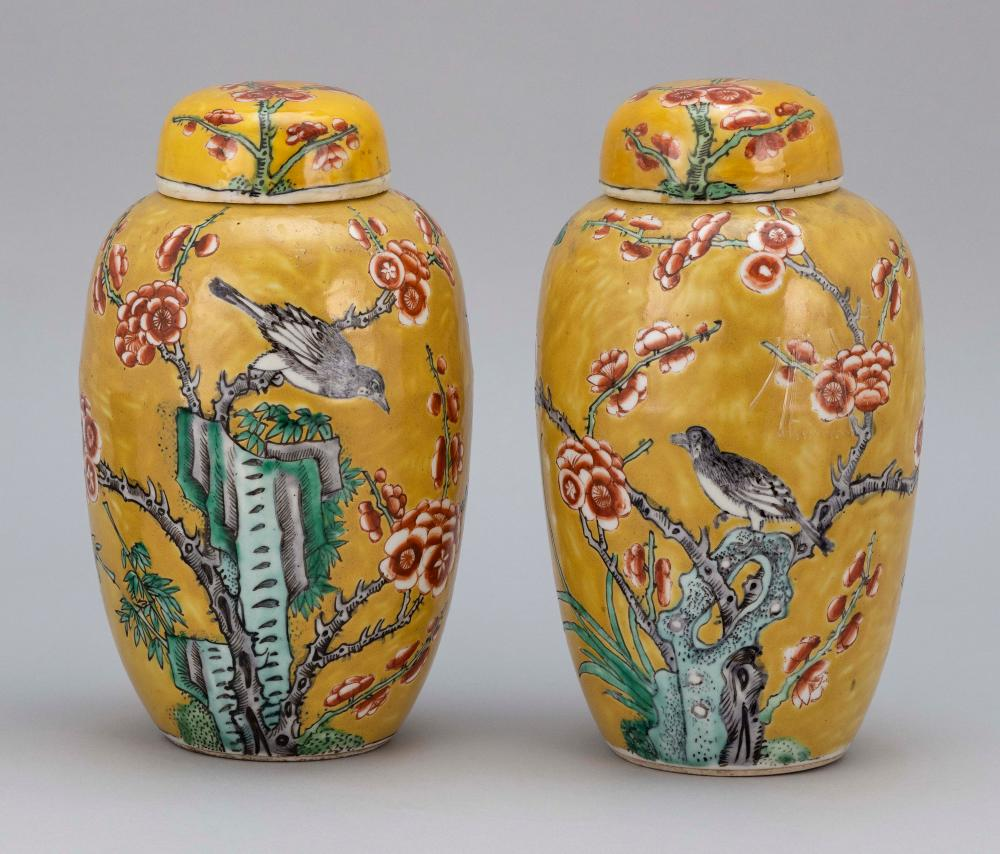 PAIR OF CHINESE FAMILLE ROSE PORCELAIN COVERED GINGER JARS Decorated with nightingales on flowering tree branches against a mustard...