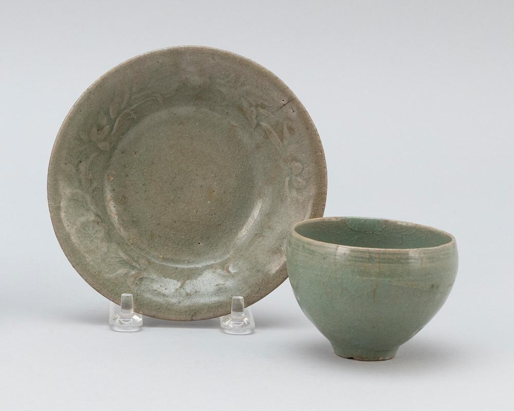 """TWO PIECES OF KOREAN CELADON PORCELAIN A wine cup, height 2.5"""", and a dish with incised floral design, diameter 5"""". Provenance: A pr..."""