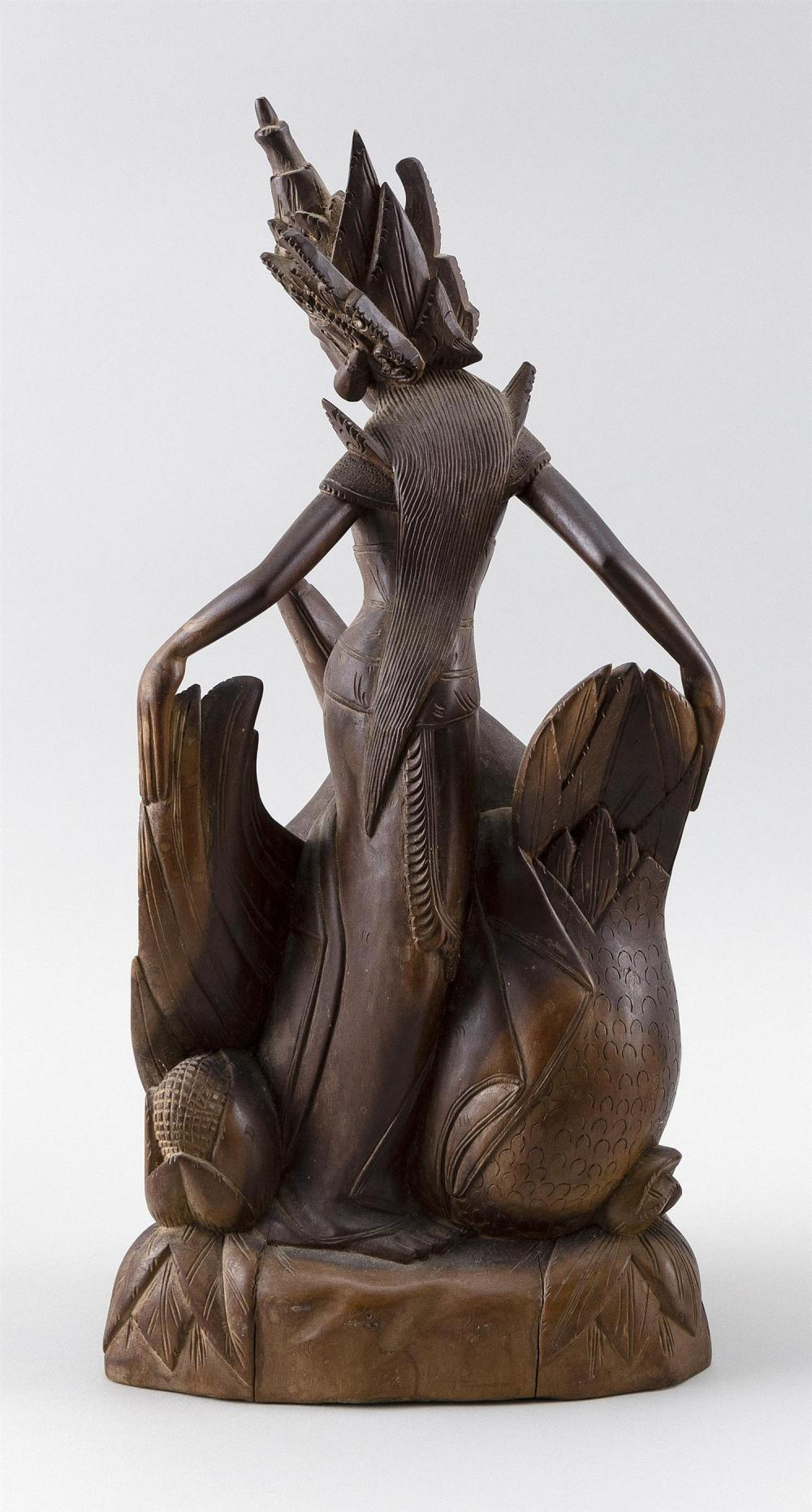 BALINESE CARVED WOOD FIGURE OF A DANCER AND SWAN Height 16
