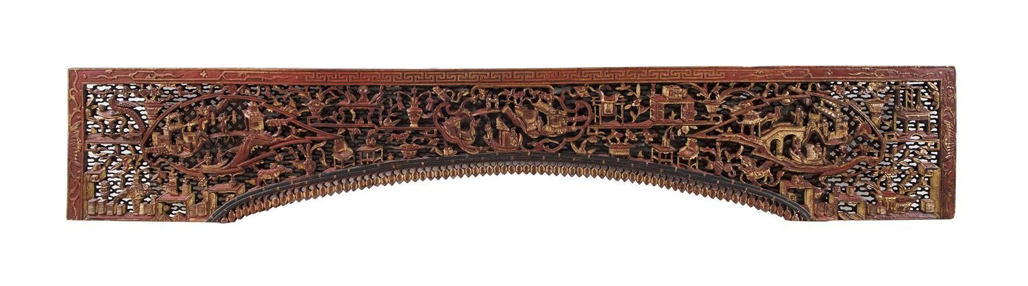 """CHINESE GILDED AND PAINTED CARVED WOOD FRIEZE Openwork-carved figural and temple decoration. Archway with acanthus drops. Height 13""""..."""