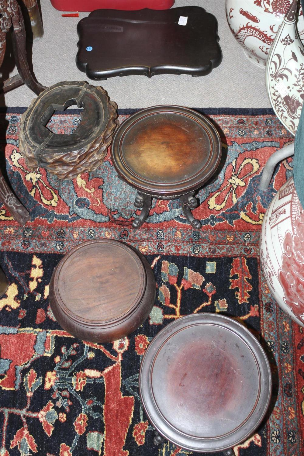 TEN ASSORTED CHINESE HARDWOOD STANDS Lengths approx. 11