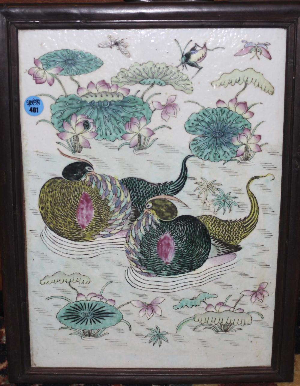CHINESE FAMILLE VERTE PORCELAIN TILE PAINTING Depicts two waterfowl swimming amongst water lilies. 13
