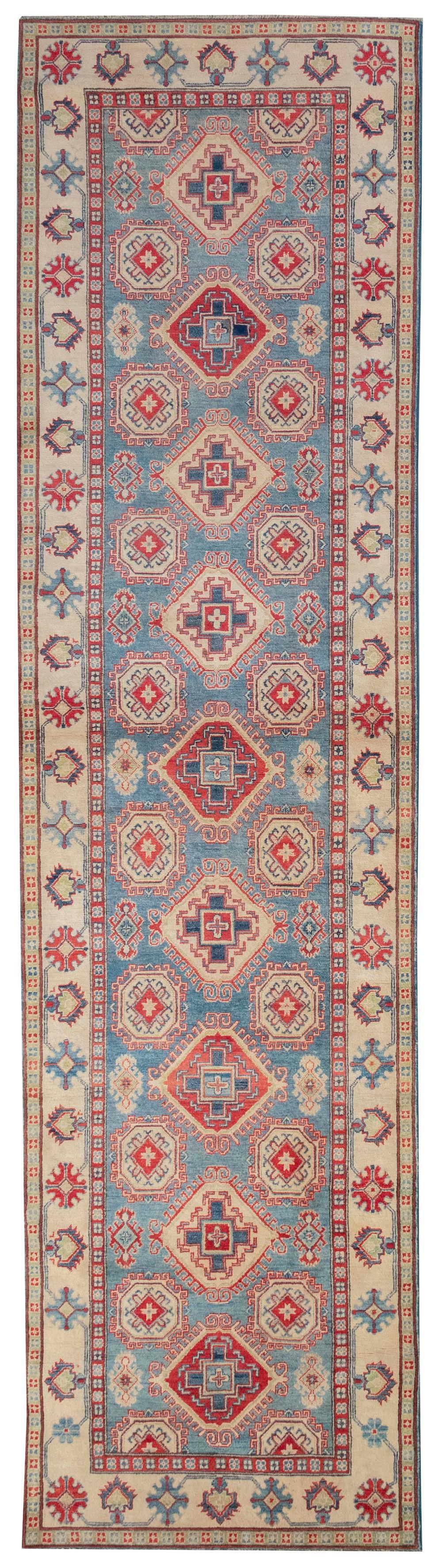 "ORIENTAL RUG: KAZAK DESIGN CORRIDOR CARPET 4'1"" x 15'8"""