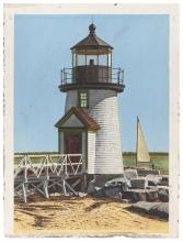 """MARSHALL DUBOCK (America, b. 1943), Brant Point Lighthouse, Nantucket, Massachusetts., Gouache on paper, 27"""" x 21"""". Unframed."""