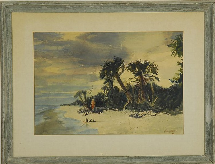 FRAMED WATERCOLOR: EARL CLIFFORD GROSS (American, 1899-1983). Florida shore scene with figures. Signed and dated lower right