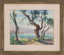 "LOTTIE MEYER CATOK, American, Late 20th Century, Roadside coastal scene with sailboat., Watercolor on paper, 17"" x 21.5"" sight. Framed."