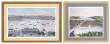 MAXWELL MAYS, Rhode Island, 1918-2009, Two lithographs depicting harbor views., 21