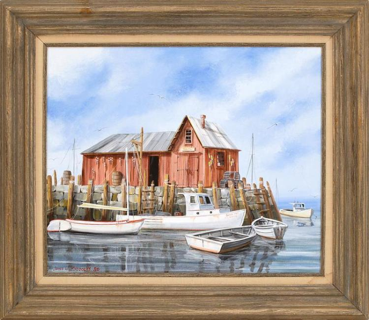 JAMES W. MADDOCKS, Cape Cod, 20th Century, Dock scene with fishing boats., Oil on canvas, 20