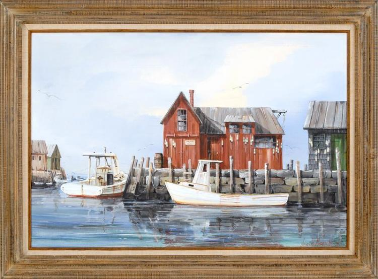 JAMES W. MADDOCKS, Cape Cod, 20th Century, Lobster shack on the pier., Oil on canvas, 24