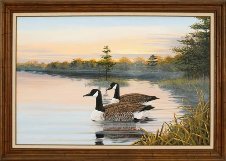 JAMES W. MADDOCKS, Cape Cod, 20th Century, Canada geese at sunset., Oil on canvas, 24