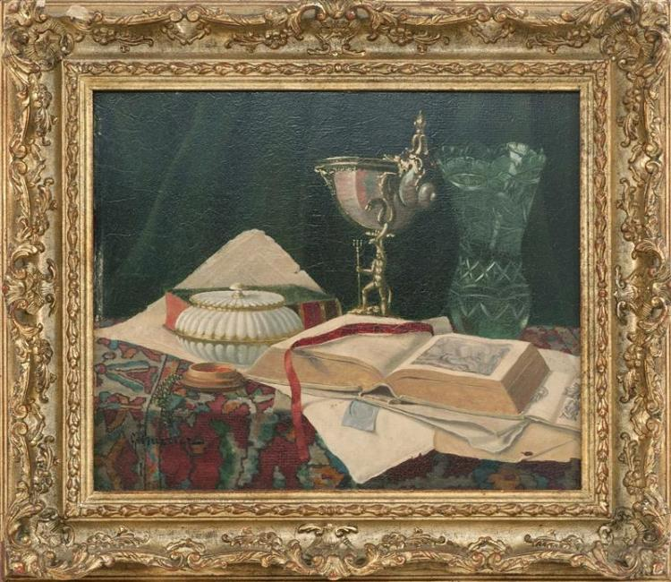 GUSTAVE BARRIER, French, 1871-1953, Still life with open book., Oil on board, 10