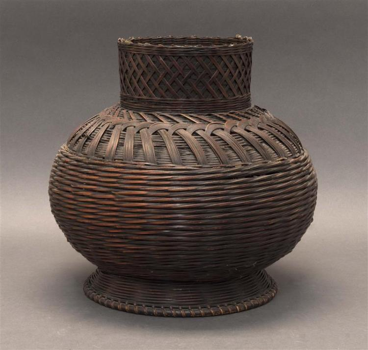 SPLINT BAMBOO IKEBANA BASKET In ovoid form with cylindrical neck and conical foot. Height 12