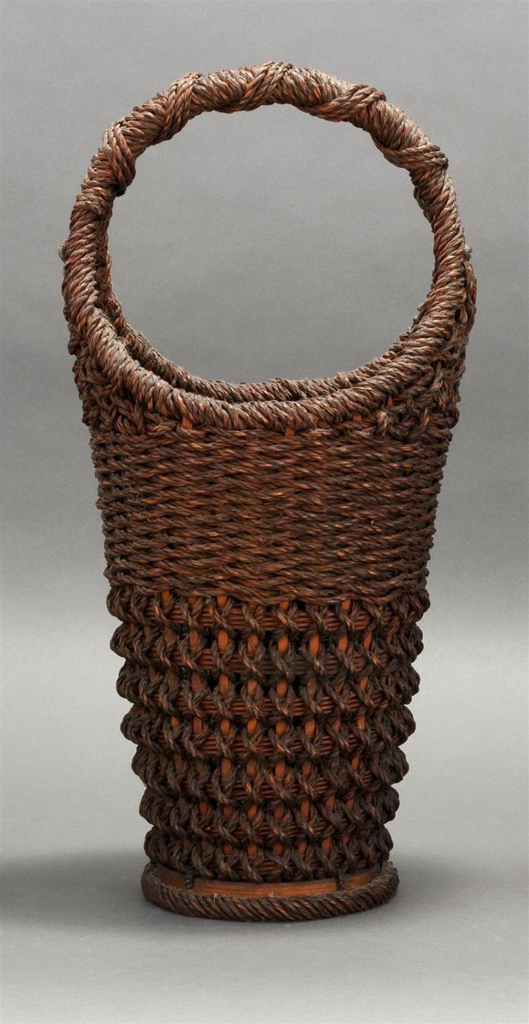 ROPE-WORK IKEBANA BASKET In tapered cylinder form with lattice design and rope handle and foot. Height 21