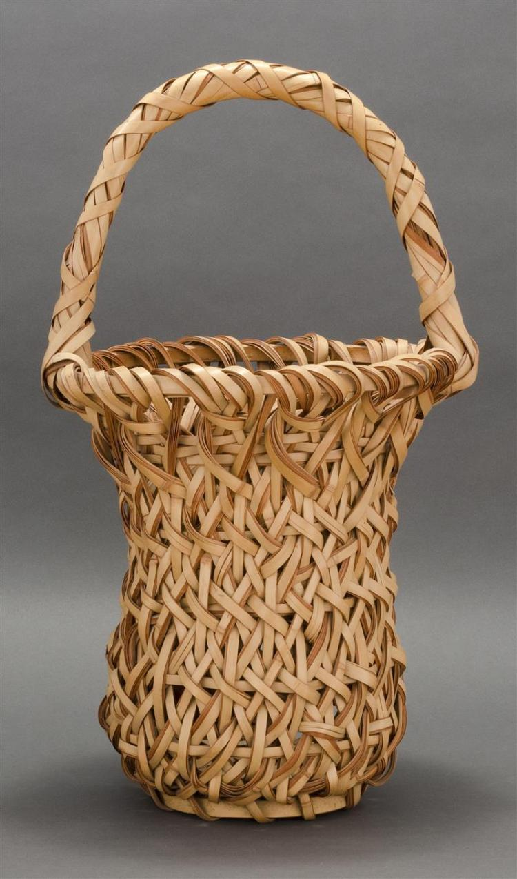 SPLINT BAMBOO IKEBANA BASKET In gourd form with flared rim and loop handle. Height 22.5