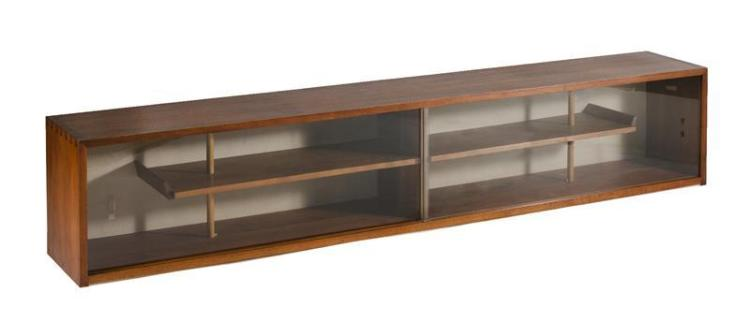 GEORGE NAKASHIMA WALNUT DISPLAY CASE With two glass doors and two shelves. Doweled and dovetailed. Length 100