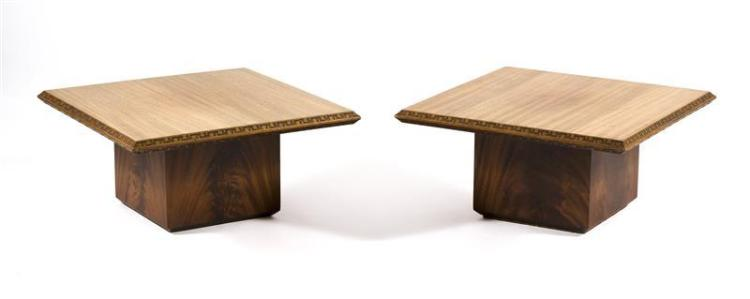 PAIR OF FRANK LLOYD WRIGHT SIDE TABLES Made by Henredon. In mahogany with key fret design. Heights 13