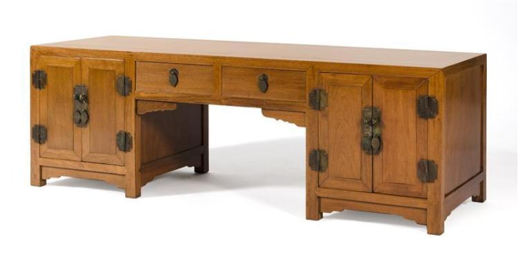 HUANGHUALI WRITER'S TABLE With two drawers and two two-door cupboards. Brass hardware. Height 18