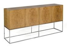 MODERNIST CABINET BY MILO BAUGHMAN In burled olive wood with four doors. Chrome base. Height 35
