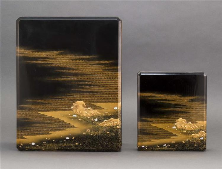 GOLD LACQUER SUZURIBAKO WITH MATCHING PAPER BOX In rectangular form. Decorated on exterior with coastal landscape in takamaki-e and...