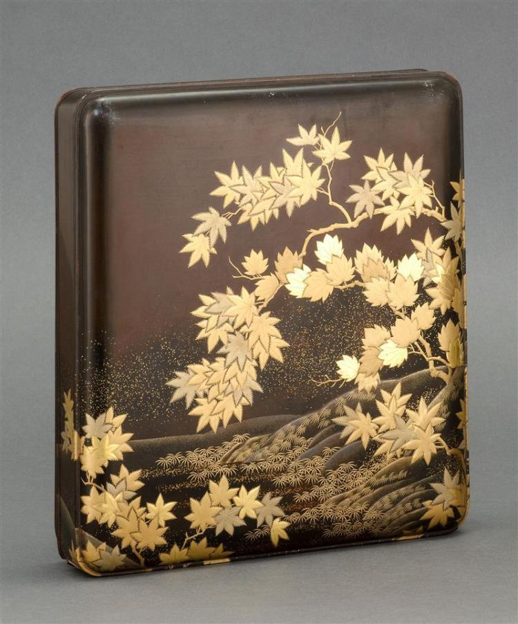BLACK AND GOLD LACQUER SUZURIBAKO By Zohiko. Decorated with maple leaf landscape on exterior and a spotted deer on interior. Interio...