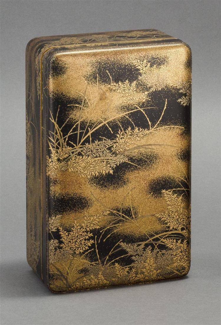 BLACK AND GOLD LACQUER RECTANGULAR BOX With hiramaki-e grasses design on a nashiji ground. Nashiji interior and foot. Height 4.25