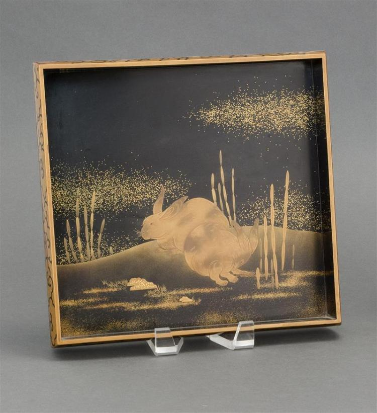 BLACK AND GOLD LACQUER TRAY By Zohiko. With rabbit design on a nashiji ground. Signed with kakihan. 10
