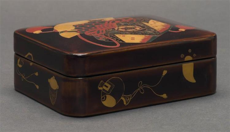 POLYCHROME LACQUER BOX With incised brocade bag design. Depicting the emblems of the Gods of Good Fortune on exterior. Length 5.3