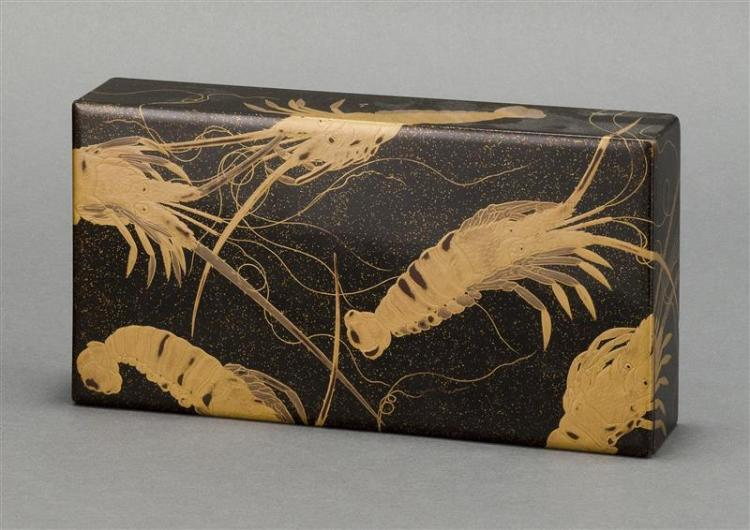BLACK AND GOLD LACQUER SUZURIBAKO With lobster design in gold on a nashiji ground. Top 9.75