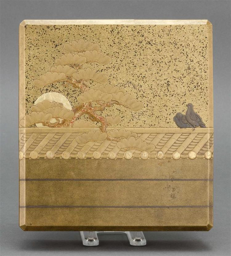 GOLD LACQUER SUZURIBAKO Decorated on exterior of cover with doves and pine tree with a tiled roof. Interior of cover with a high-rel...