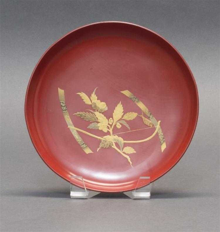 RED AND GOLD LACQUER DISH By Zohiko. With a banner and peony design. Diameter 7.75