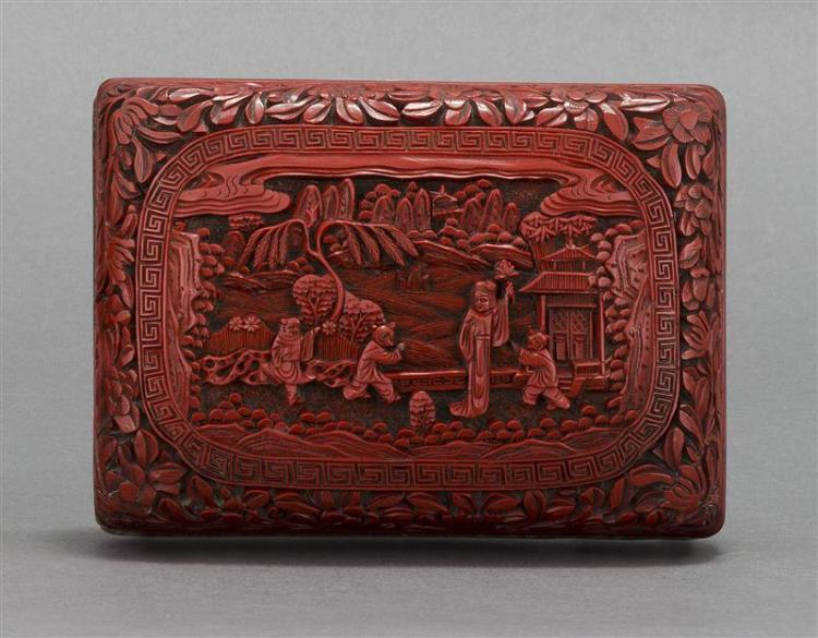 CINNABAR BOX In rectangular form with figural landscape design. Six-character Qianlong mark on base. Height 2
