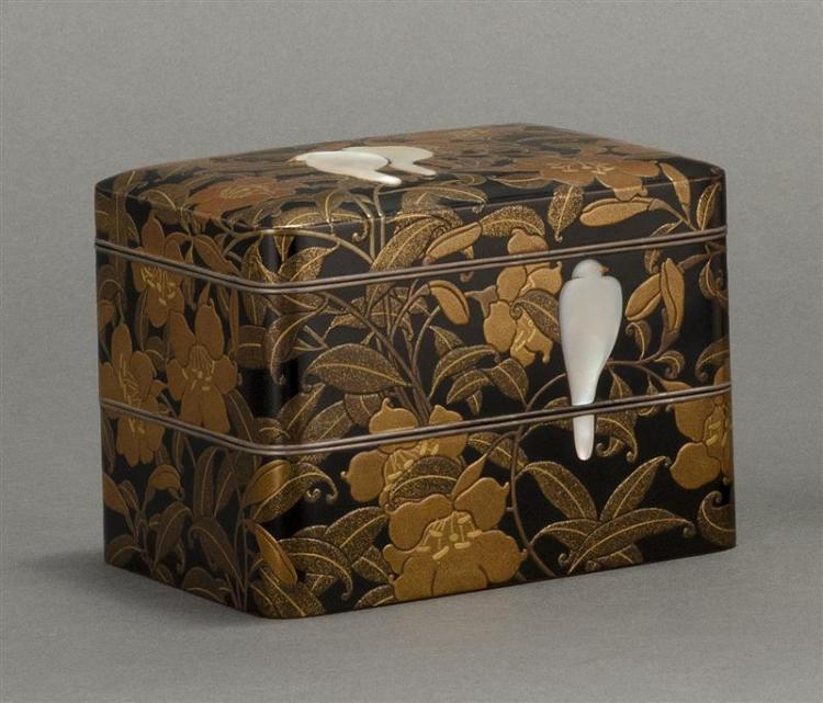 TWO-SECTION GOLD LACQUER COVERED BOX In rectangular form with bird and trumpet vine design in takamaki-e lacquer with mother-of-pear...