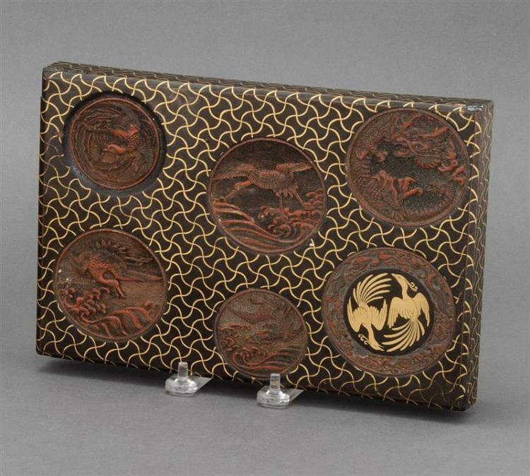 BLACK, GOLD, AND TSUISHU LACQUER BOX In rectangular form with medallion design of dragons, cranes, and phoenix on a fishnet ground....