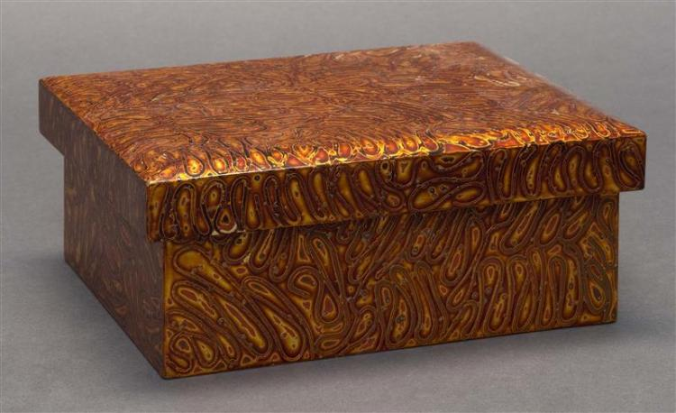 WAKASANURI GOLD LACQUER BOX In rectangular form with peacock's-eye design. Height 3