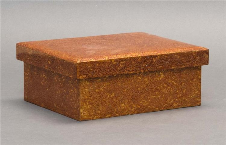 WAKASANURI GOLD LACQUER BOX In rectangular form with stylized coral design. Height 3.5
