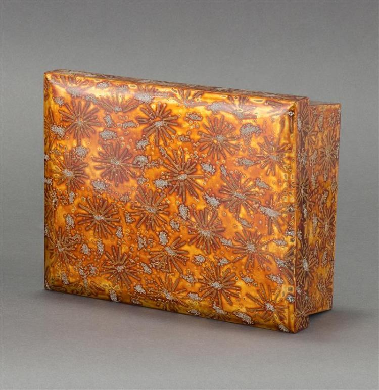WAKASANURI GOLD LACQUER BOX In chrysanthemum design. Height 3.5