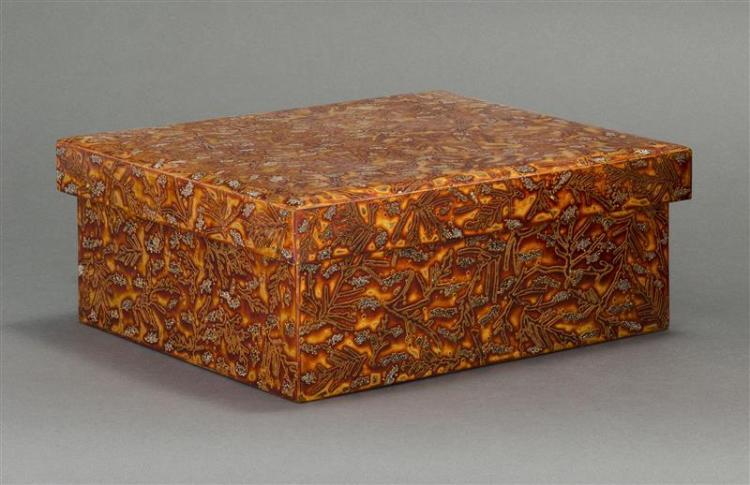 WAKASANURI GOLD LACQUER BOX In rectangular form with coral design. Height 4