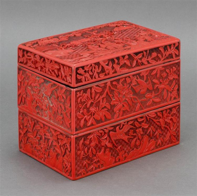 TWO-SECTION CINNABAR LACQUER BOX With relief figural landscape design. Height 7.6