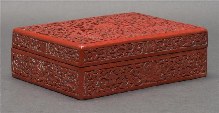 CINNABAR LACQUER BOX In rectangular form with peony design. Divided interior. 7