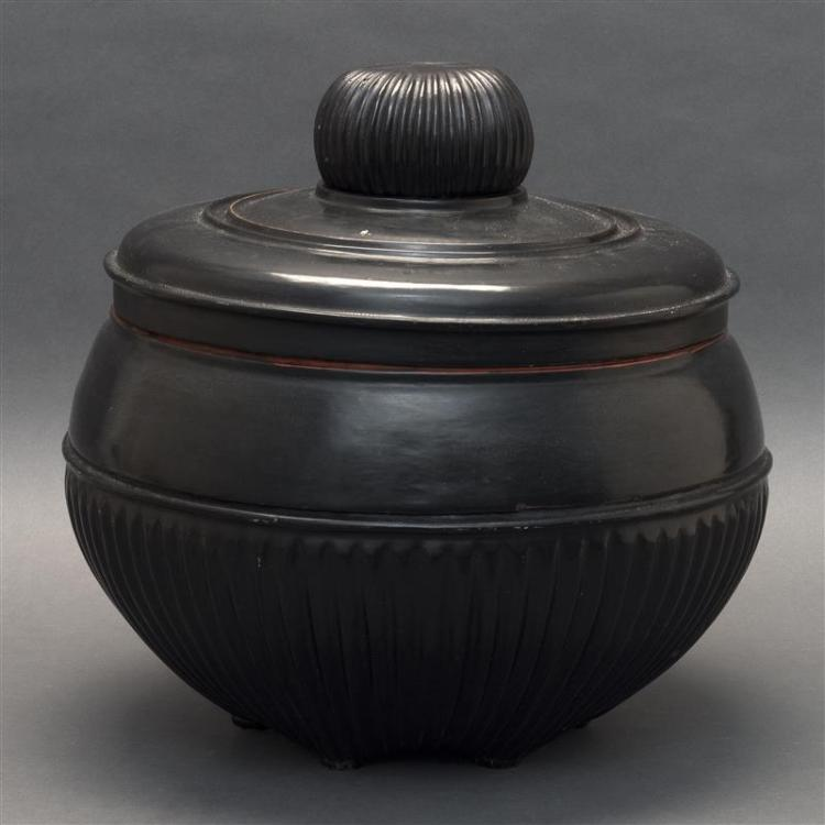 BURMESE BLACK LACQUER FOOD STORAGE JAR Formed with ribbed bowl finial. Footed serving dish cover. Circular rice bowl and ovoid body...