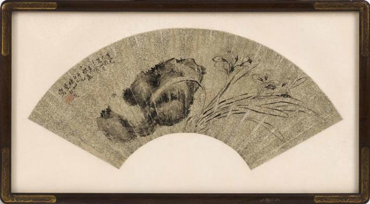 FAN PAINTING ON PAPER Decorated with iris and rockery on a metallic ground. With inscription and seal mark. Length 20.5