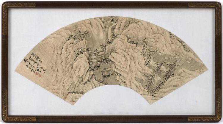 FAN PAINTING ON PAPER Depicting rural cottages along a river with towering cliffs. Marked with inscription and two seal marks. Lengt...